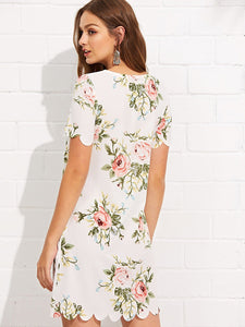 SHEIN Scalloped Edge Floral Dress