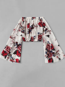 Fluted Sleeve Off Shoulder Floral Crop Top