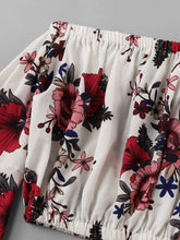 Load image into Gallery viewer, Fluted Sleeve Off Shoulder Floral Crop Top
