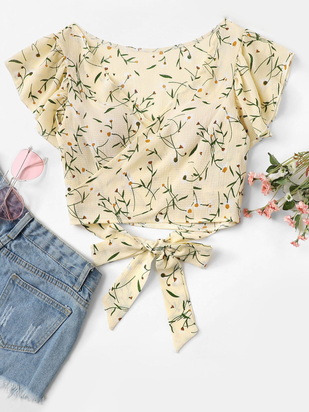 Ditsy Floral Self Tie Wrap Crop Top