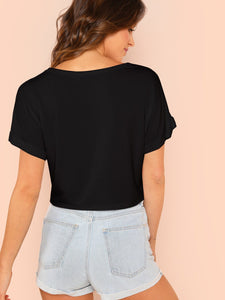 SHEIN Solid Roll Up Sleeve Crop Top