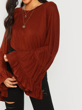 Load image into Gallery viewer, SHEIN Tiered Bell Sleeve Solid Blouse