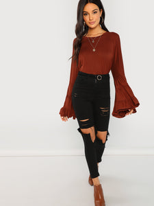 SHEIN Tiered Bell Sleeve Solid Blouse