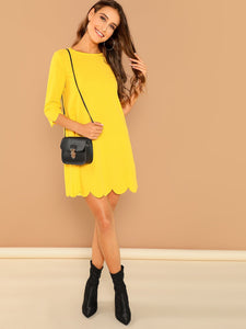 SHEIN Scallop Edge Solid Trapeze Dress