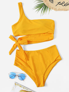One Shoulder High Waisted Bikini Swimsuit