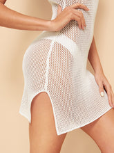 Load image into Gallery viewer, SHEIN Slit Hem Fishnet Mesh Slim Fitted Cover Up