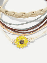 Load image into Gallery viewer, Flower Detail Layered Anklet 3pcs