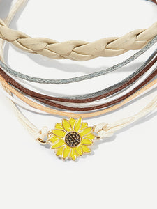Flower Detail Layered Anklet 3pcs