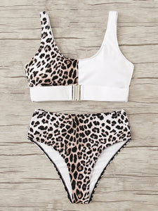 Leopard Buckle Front High Waisted Bikini Swimsuit