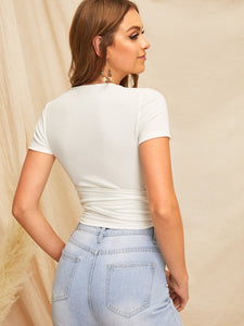 SHEIN Self Belted Wrap Crop Top
