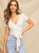 Load image into Gallery viewer, SHEIN Self Belted Wrap Crop Top