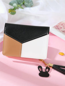 Tassel Decor Color Block Wallet