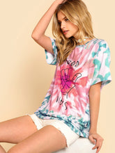 Load image into Gallery viewer, SHEIN Graphic Print Tie Dye Tee