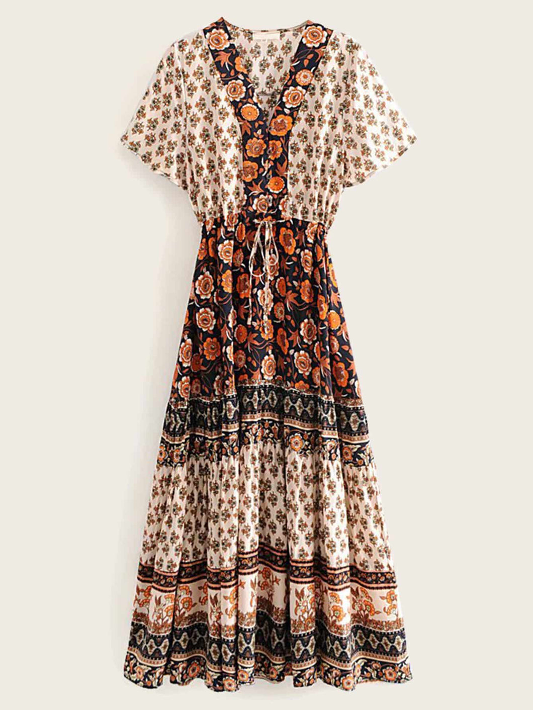 Floral Print Random Belt Drawstring Waist Dress