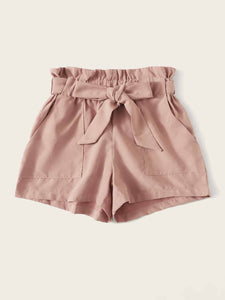 SHEIN Paperbag Waist Pocket Patched Shorts