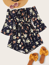 Load image into Gallery viewer, Plus Floral Print Off The Shoulder Playsuit