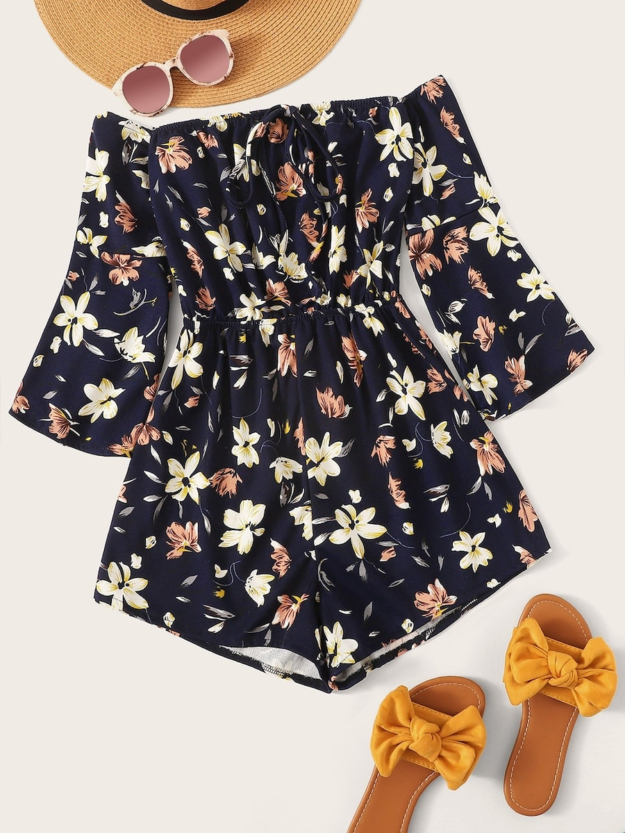 Plus Floral Print Off The Shoulder Playsuit