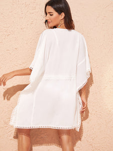 SHEIN Tied Waist Lace Trim Deep V Neck Cover Up