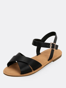 Overlap Band Buckled Ankle Flat Sandals