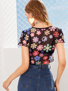 Floral Print Sheer Mesh Tee Without Bra
