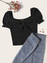 Load image into Gallery viewer, SHEIN Ruffle Cuff Tie Neck Rib-knit Tee
