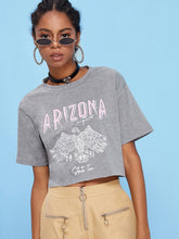 Load image into Gallery viewer, Letter And Eagle Print Crop Tee