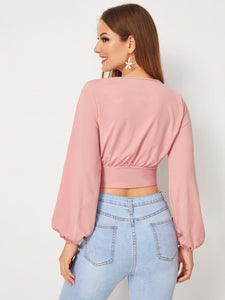 Surplice Tie Front Crop Top