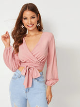 Load image into Gallery viewer, Surplice Tie Front Crop Top