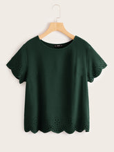 Load image into Gallery viewer, SHEIN Laser Cut Scallop Hem Top