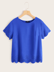 SHEIN Laser Cut Scallop Hem Top