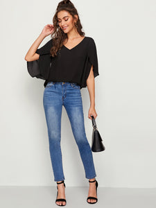 SHEIN Split Sleeve Solid Top