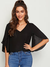 Load image into Gallery viewer, SHEIN Split Sleeve Solid Top