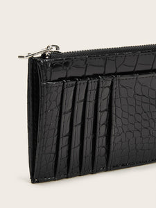 Croc Embossed Purse With Card Holder