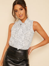 Load image into Gallery viewer, SHEIN Dalmatian Print Tie Neck Sleeveless Top