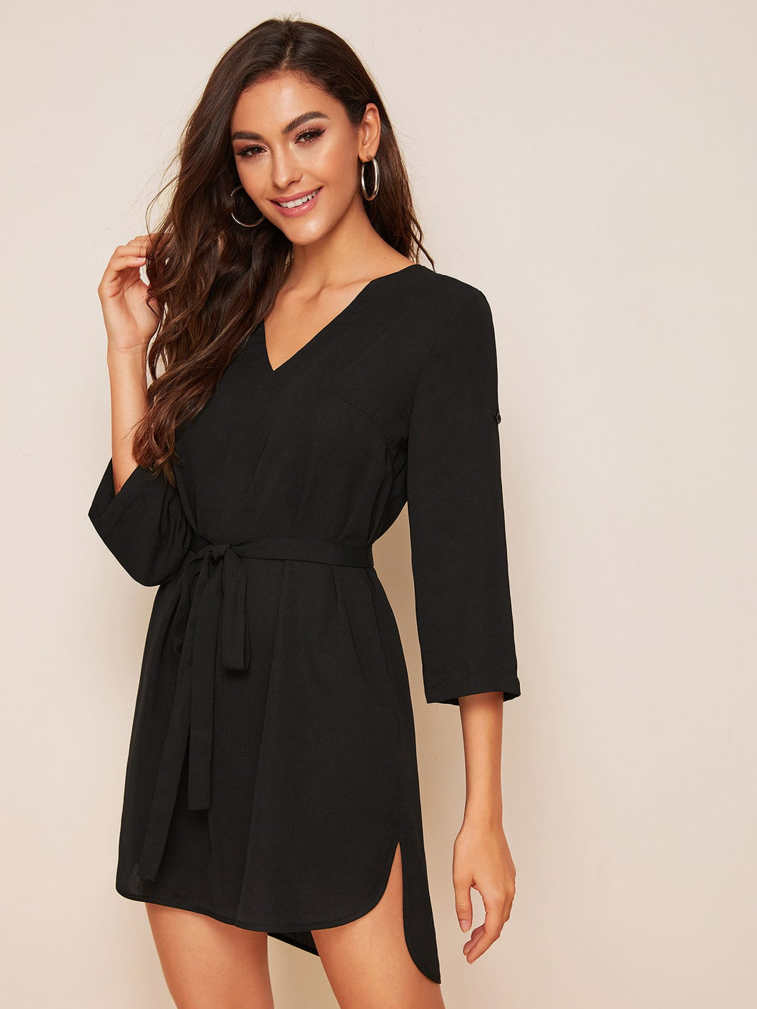 SHEIN Roll Up Sleeve Self Belted Dip Hem Dress