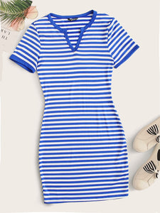 SHEIN Notch Neck Striped Fitted Dress