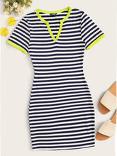 Load image into Gallery viewer, SHEIN Notch Neck Striped Fitted Dress