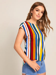 SHEIN V-cut Twist Back Batwing Sleeve Striped Top