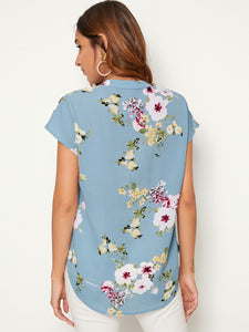 SHEIN Notch Collar Botanical Print Top