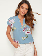 Load image into Gallery viewer, SHEIN Notch Collar Botanical Print Top