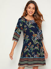 Load image into Gallery viewer, SHEIN Keyhole Back Botanical Print Tunic Dress
