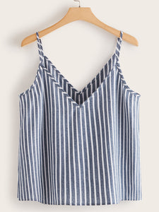 SHEIN Plus Striped Button Front Cami Top