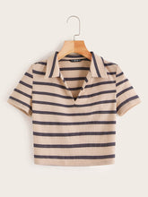 Load image into Gallery viewer, SHEIN Collared V-neck Rib-knit Striped Tee