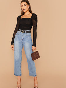SHEIN Frilled Trim Ruched Mesh Top