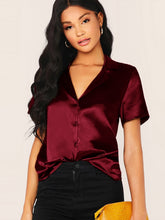 Load image into Gallery viewer, SHEIN Notched Collar Short Sleeve Satin Shirt