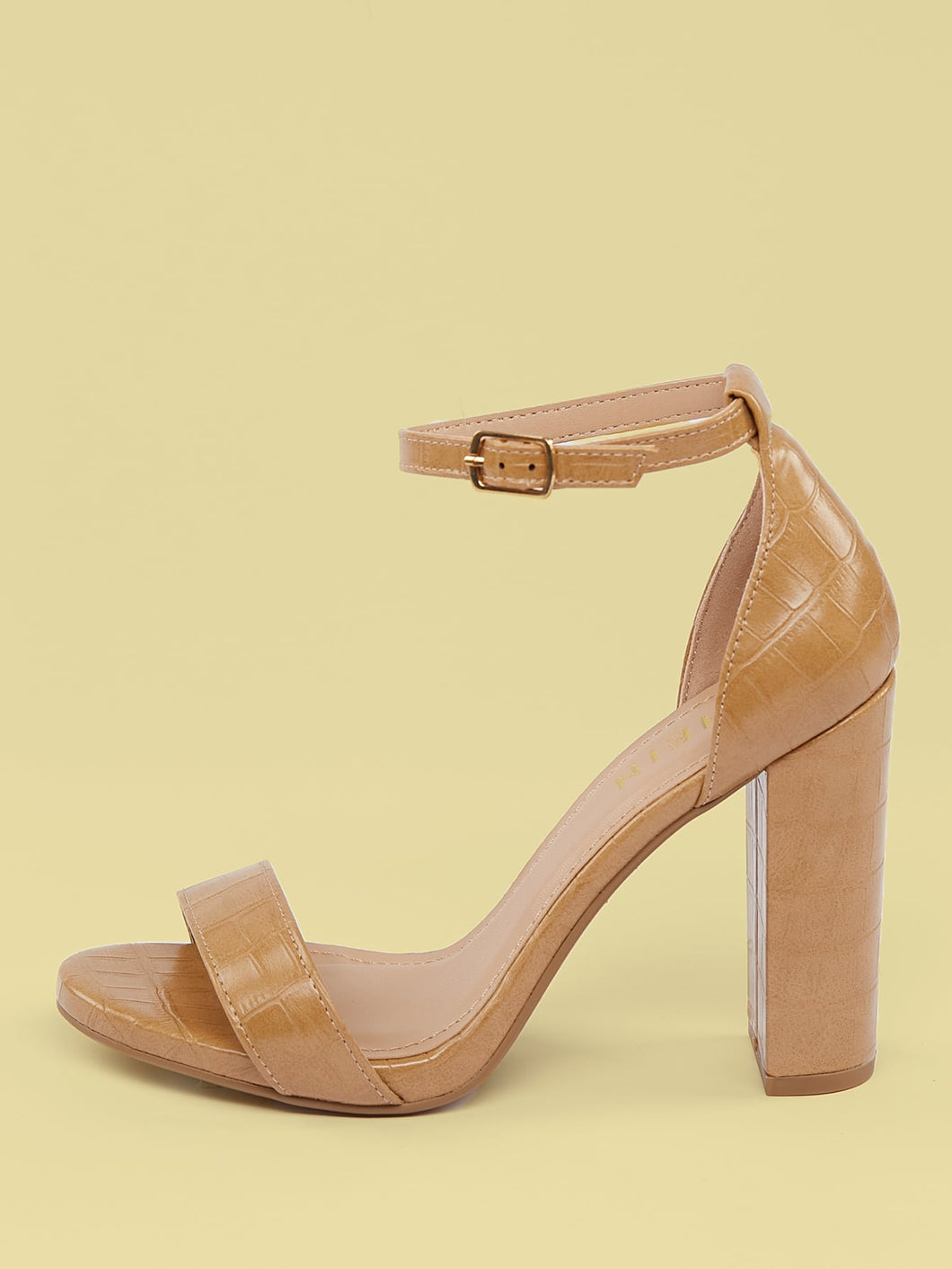Ankle Strap Open Toe Croc Embossed Chunky Heels