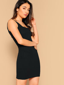 SHEIN Solid Rib-knit Tank Bodycon Dress