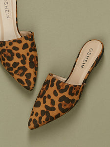 Pointed Toe Leopard Print Flat Slide Mules