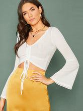 Load image into Gallery viewer, SHEIN Drawstring Front Bell Sleeve Crop Top