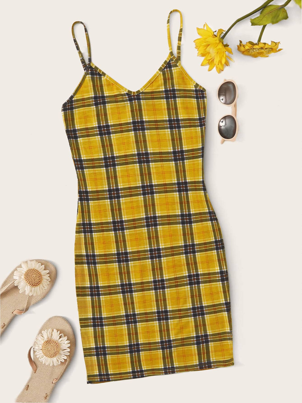 SHEIN Tartan Print Slip Dress